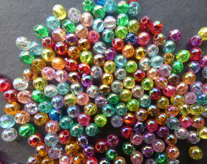 Round 8mm 100 Colourful Acrylic Beads Mixed Colours Hole: 1.5mm;
