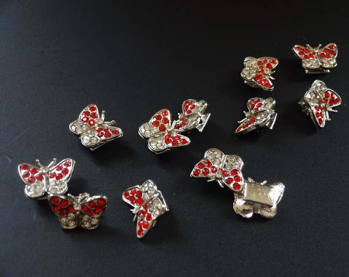 15x10mm Butterfly Rhinestone Beads, Red Rhinestone Beads, Clear and Red Rhinestone, Butterfly Setting, Metal Butterfly Bead, Charm Bead
