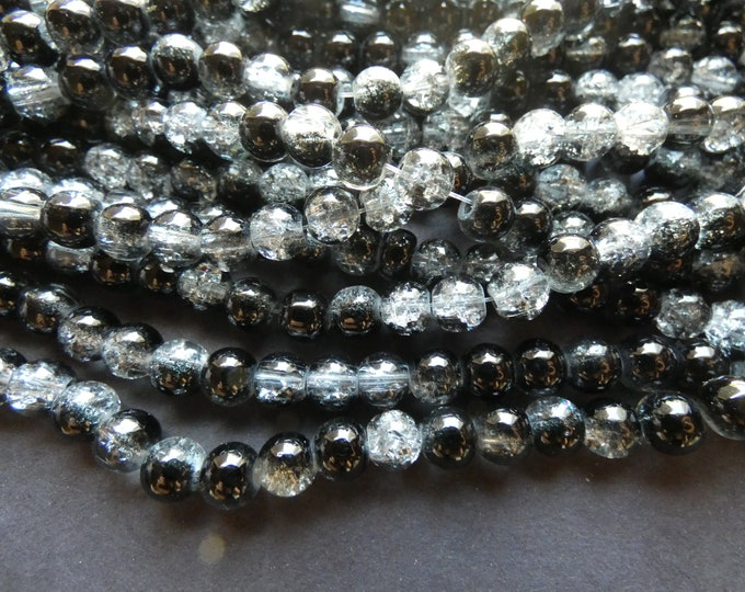 31 Inch 6mm Strand Crackle Glass Bead Strand, About 133 Beads Per Strand, Ball Bead, Round, Semi Transparent, Black Ball Bead, Spray Painted