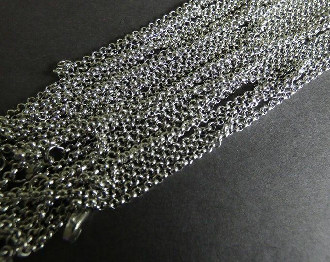 316 Stainless Steel Rolo Chain, Silver Color, Lobster Claw Clasp, 17.5 Inches Long, Link Chain, Classic Chain Necklace, Add Your Own Charms