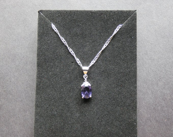 Sterling Silver & Natural Amethyst Pendant Necklace With Diamond Accents, Fashion Jewelry, Purple Gemstone, Rhinestones, Oval Pendant
