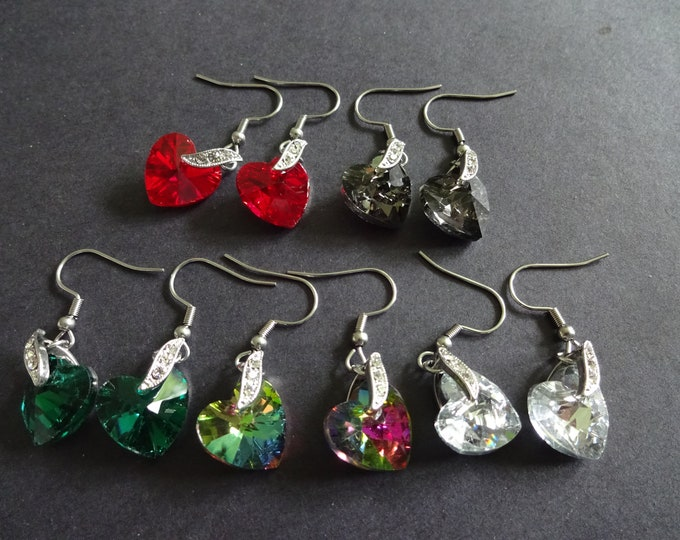Glass & 304 Stainless Steel Heart Earrings, Dangle Faceted Heart Rhinestones, Silver Color, Fish Hook, 4 Color Options, Simple, Valentine's