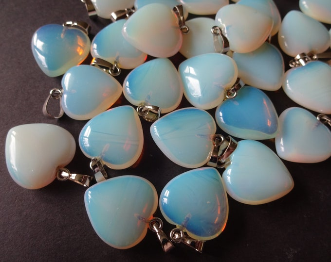 22mm Opalite Pendant, Brass Loop, Hand Cut, Polished Gem, Large Charms, Gemstone Jewelry, Heart Stone, Valentine's Day, Necklace Making