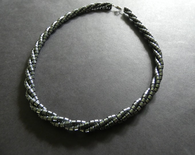 17 Inch Hematite Necklace, Synthetic, Platinum Silver Color, Column Beads, Non Magnetic, 3x3mm Beads, Nylon Cord, Metallic, Unisex Jewelery