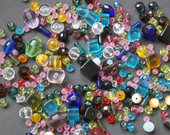 200 GRAMS Mixed Loose Glass Beads, About 200-225 Beads, Mixed Colors, Mixed Shape & Size, Glass Bead Mixed Lot, Handpicked Bead Lot