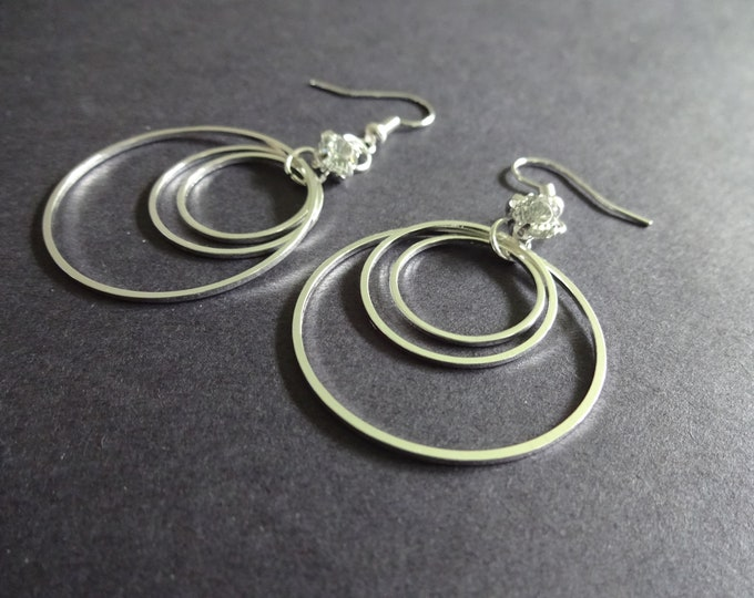 Dangle Brass Earrings, Silver Color, 3 Ring Design, Metal Fish Hook, Women's Fashion Earrings, For Pierced Ears, Three Hoops Design, 60mm