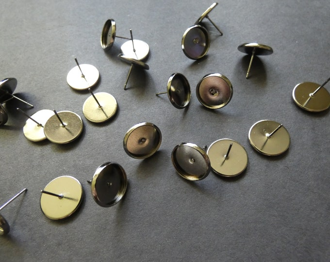 12mm Brass Cabochon Setting Earrings, Gunmetal Color, Fits 12mm Round Stone, .7mm Pin, Chic Timeless Style, Classic Ear Post, Earring Supply