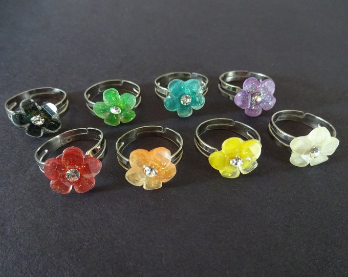 Adjustable Flower Ring, Metal and Acrylic, 8 Colors, Adjustable Rings, Nickel Finished Steel, Ring Making, Floral, Components, 12mm Flowers