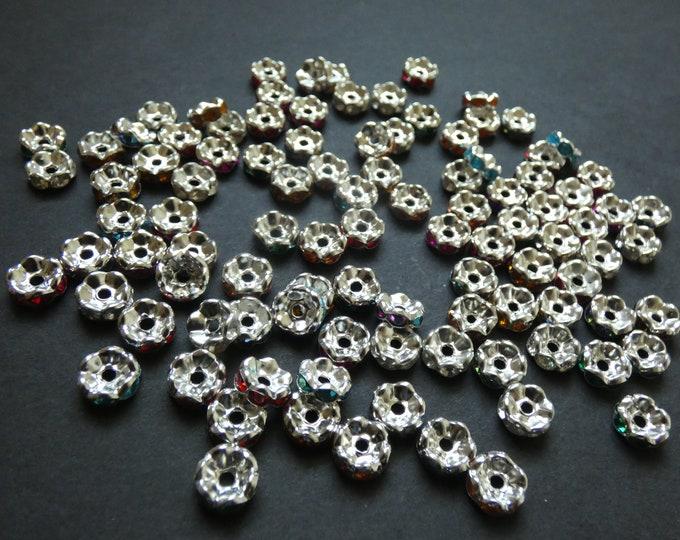 100 PACK of 8mm Rhinestone Rondelle Beads, Metal with Rhinestone Beads, Saucer Beads, Brass Metal Rondelle Beads, Mixed Color Rhinestone