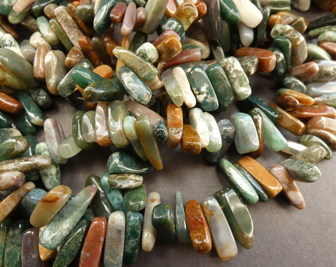 16 Inch 5-22mm Natural Indian Agate Beads, About 100 Gemstone Beads, Brown & Green Agate Chips, Polished Agate Crystal, Drilled 1mm Hole