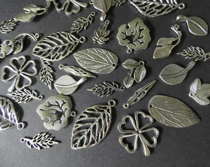 100 Pack Mixed Leaf Pendant Set, Tibetan Metal Pendants, 19-47mm, Antiqued, Vintage Theme, Bohemian Jewelry, Leaves, Charm Kit, Silver Color