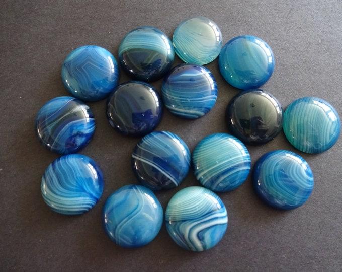 20mm Natural Striped Blue Agate Gemstone Cabochon, Dyed, Dome Blue Cabochon, Polished Gem, Stone Cabochon, Natural Gemstone, Agate Stone