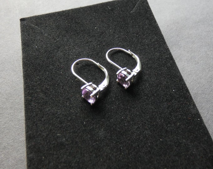 Sterling Silver & Natural Amethyst Earrings, Round Stones, Women's Stone Jewelry, Purple Gemstone, Semi Transparent, Leverback Style Drops