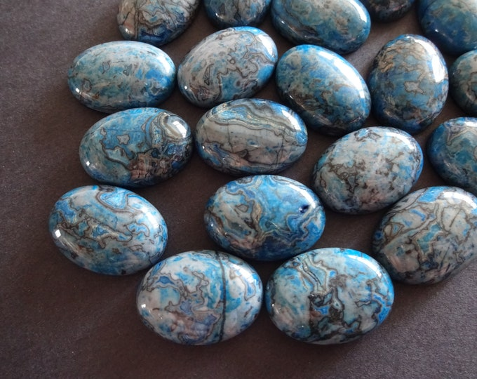25x18mm Natural Ripple Stone Cabochon, Dyed, Blue and Black, Oval, Gemstone Cabochon, Polished Gem, Swirled Pattern Stone, Black Swirls