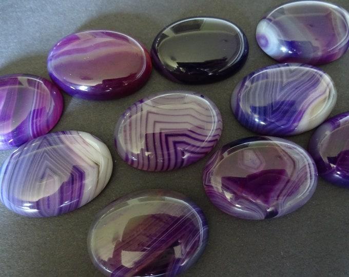 30x22x7mm Natural Striped Agate Gemstone Cabochon, Oval Cabochon, Polished Agate, Purple Cabochon, Natural Stone, Agate, Striped, Swirls