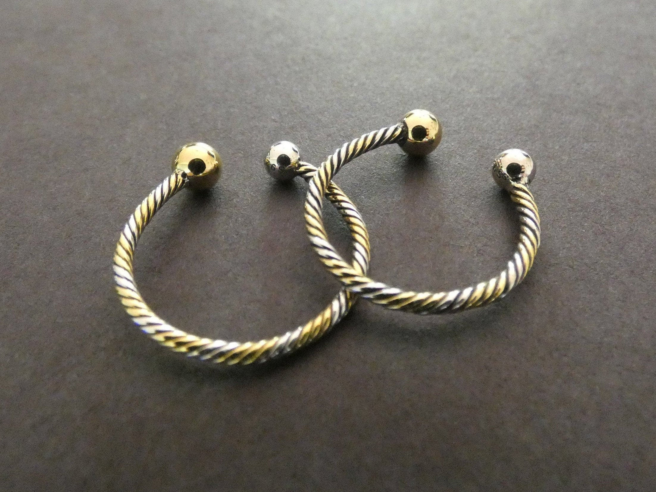 Two Tone Thai Sterling Silver Ring Jewelry For Her Adjustable Silver Band Silver and Gold Colors Link Cuff Ring Twisted Pattern