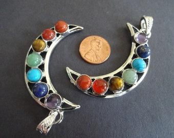 60mm Chakra Moon Alloy Metal Pendant, Bezel Gemstone Pendant, Crescent Moon Charm, 60x35x8mm, Chakra Jewelry, Silver Color and Stones