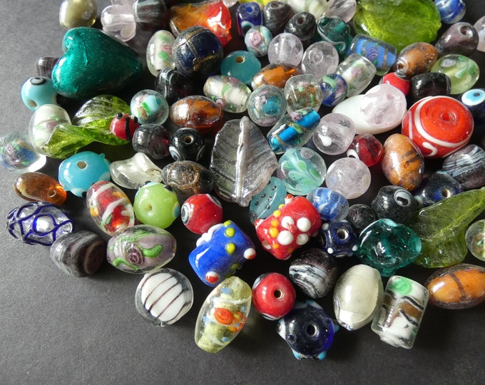 250 GRAMS Mixed Lampwork Glass Beads, About 50-100 Beads, 11-29mm, Mixed Shape & Size, Glass Bead Mixed Lot, Handpicked Bead Lot