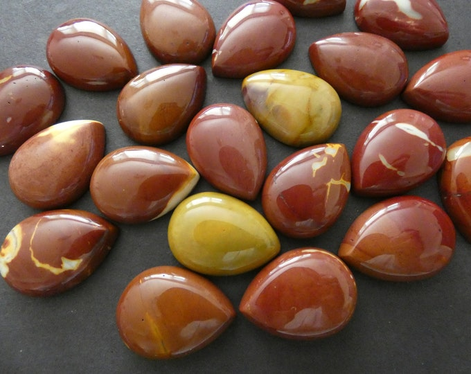 SET OF 2 Natural Mookaite Gemstone Cabs, 25x18mm, Teardrop Cabochon, Polished Mookaite, Maroon and Yellow Stone Cabochon, Natural Gemstone