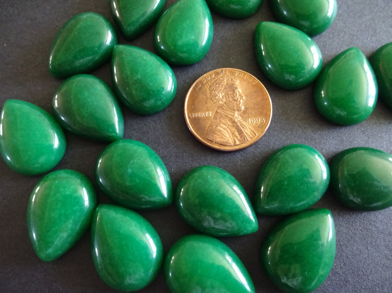 18x13mm Natural Malaysia Jade Gemstone Cabochon, Dyed