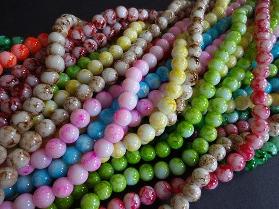 "8mm Natural Olive Green Lava Round Beads 15"" Strand Oz Seller"