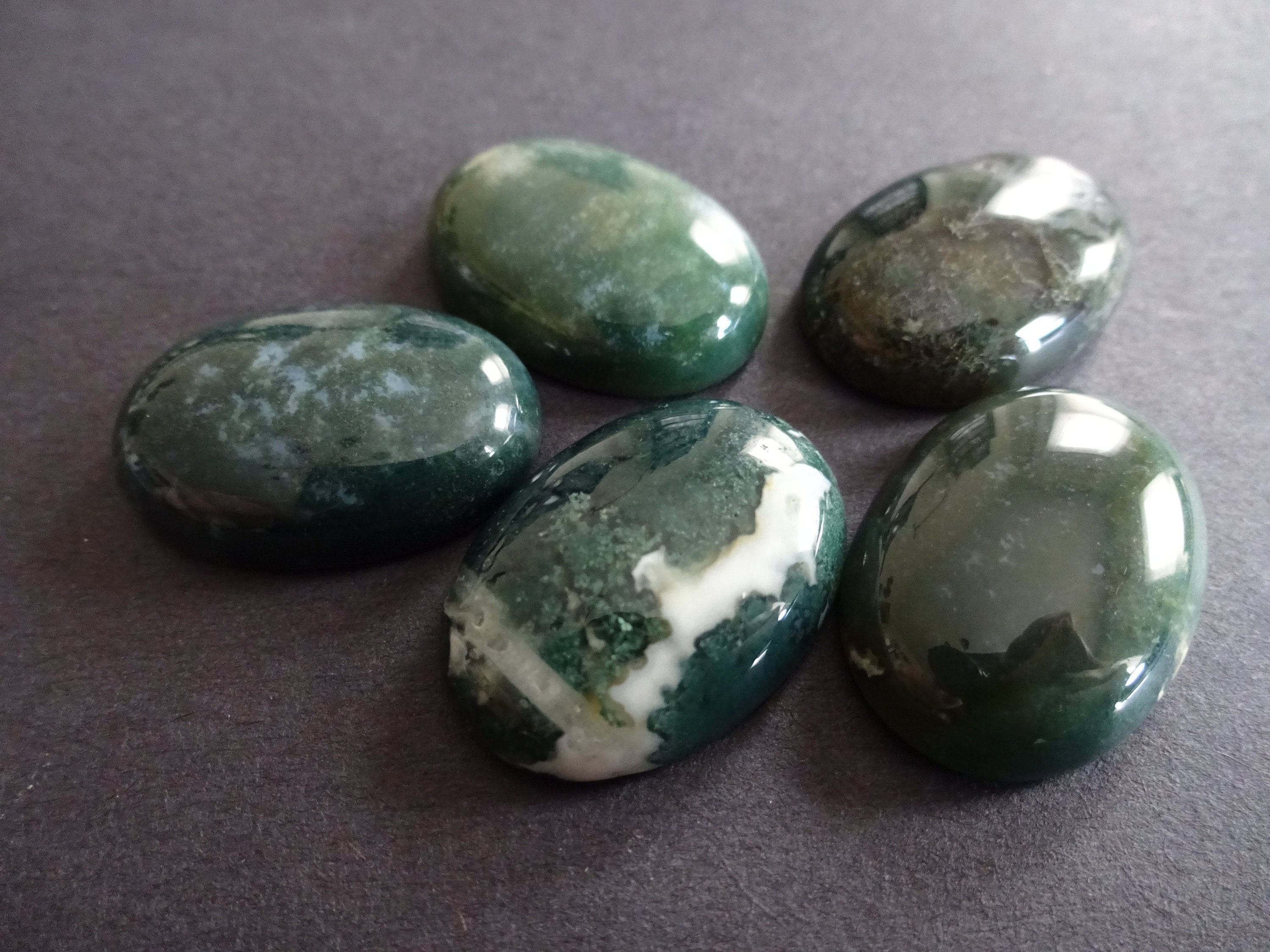Green Moss Agate Oval Cabochon