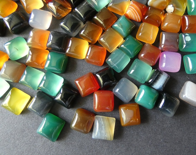 8x8mm Natural Agate Cabochons, Square Gemstone Cab, Mixed Colors, Semi Transparent, Polished Gem, Lot Of Agate, Unique Jewelry Stones