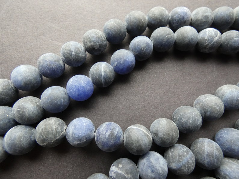 Stone Beads About 36-63 Frosted Beads Per Strand Unfinished Blue and White 15.5 Inch 6-10mm Natural Frosted Sodalite Ball Bead Strand