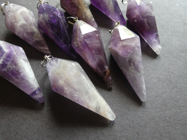 Cone Pendulum 38.5mm Natural Amethyst Pendant With Brass Loop Designer Stone Pointed Bullet Pendant Large Purple and Silver Charm