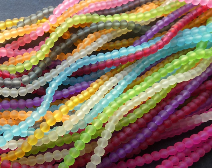 5 Pack 4mm Frosted Glass Ball Bead Strands, Unfinished, About 200 Beads Per 32 Inch Strand, 4mm Round Bead Lot, Mixed Color, Rainbow Spacers