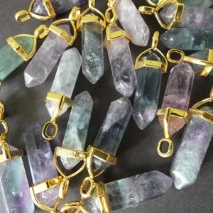 Wholesale Gold Plated Tiny Small Pyramid Points Multi Natural Stones Quartz Faceted Pendant Bead Boho Gemstone Charms Making Jewelry NO-41