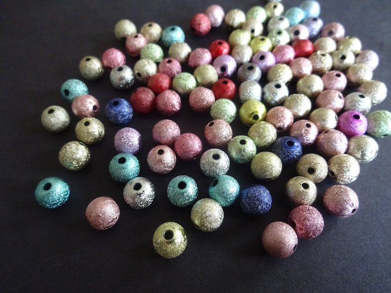 Pastel Textured Bead Metallic Multicolor Rainbow Shiny 8mm Round Bead Mixed Color Matte Style 8mm Spray Painted Acrylic Beads