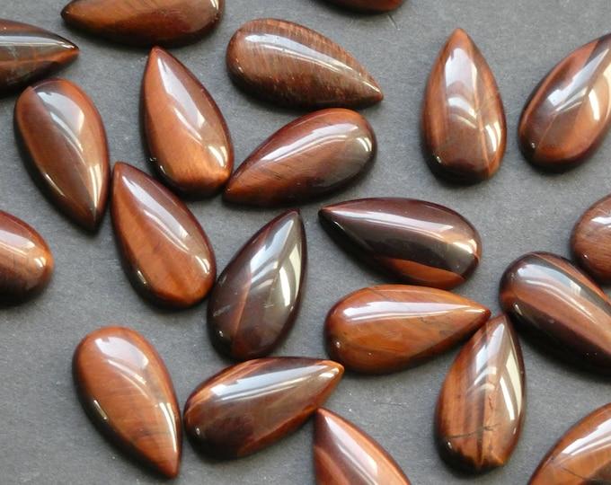 20.5mm Natural Tiger Eye Teardrop Cabochon, Gemstone Cabochon, Beautiful Polished Gem, Golden Brown, Jewelry Making Stone, Tear Drop Cab