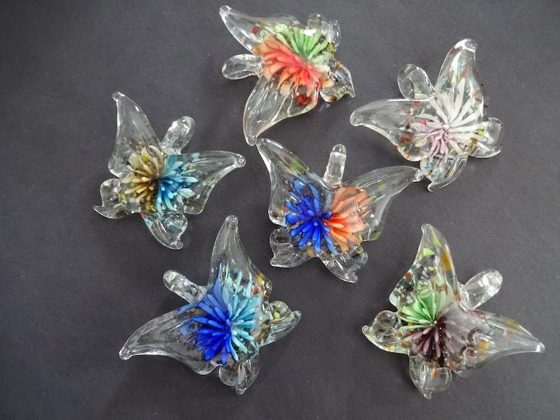 Beautiful Butterfly Charm 38-45mm Handmade Lampwork Glass Butterfly Pendant Mixed Color Glass Butterflies Easter Spring Flower Butterfly