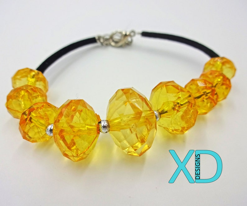 Beaded Adjustable Bracelet Handmade Yellow Faceted Large Bead Bracelet Beaded Jewelry Handcrafted Vibrant Jewelry Extender Chain