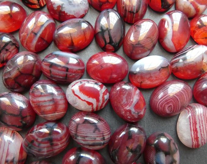 20x15mm Natural Dragon Veins Agate Gemstone Cabochon, Dyed, Oval Cabochon, Polished Gem, Dark Red Cabochon, Natural Gemstone, Agate Stone
