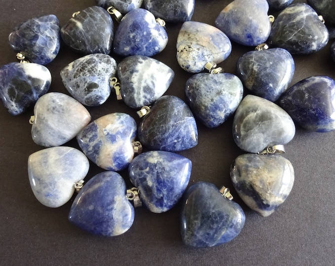 22mm Natural Sodalite Pendant With Alloy Metal, Heart Pendant,Polished Gem, Large Charm,Gemstone Jewelry, Valentines Day, 22-23x20-21x9-10mm