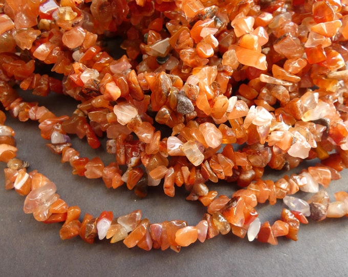 36 Inch Strand Natural Carnelian Bead Strand, Nugget Bead, 5-8mm Beads, About 200 Stone Beads, Natural Gemstone Beads, Polished Gemstone