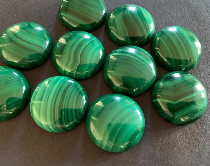 20mm Natural Malachite Gemstone Cabochon, Round Cabochon, Polished, Stone Cabochon, Natural Gemstone, Striped, Green Malachite