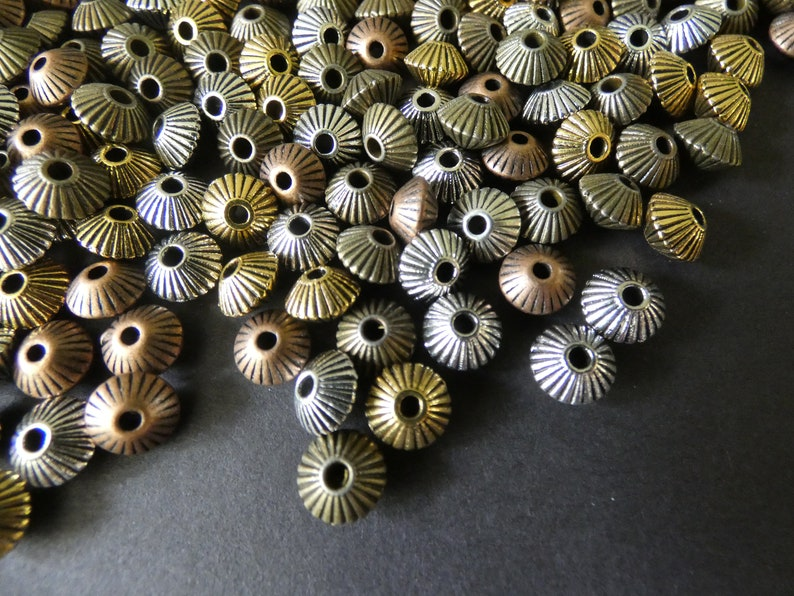 5 Color Mixed Lot Variety 1mm Holes European Style Beads Small Bicone Metallic Metal Spacers 100 Pack 8mm Bicone Tibetan Silver Beads