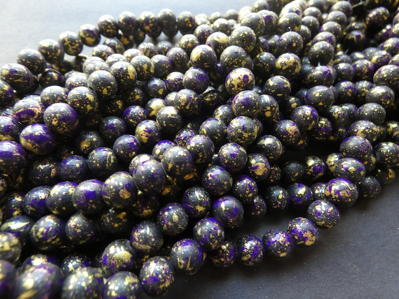 31 Inch 8mm Baked Glass Bead Strand 8mm Ball Beads Jewelry Making About 100 Beads Per Strand 1mm Hole Black /& Purple Dyed Painted