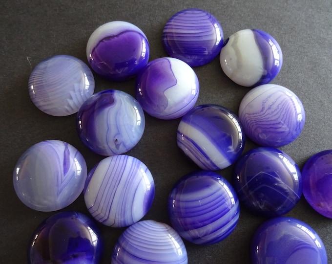 20mm Natural Striped Agate Gemstone Cabochon, Dyed Round Cabochon, Polished Agate, Purple Cabochon, Natural Stone, Purple Agate, Striped