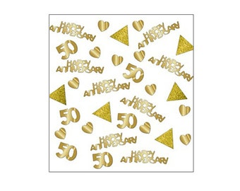 Sparkly Golden Anniversary table confetti, wedding anniversary, Golden Wedding, 50th Wedding, table decorations, UK seller, gold 50