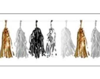 Tassel Party Banner, gold, silver, black, white, party decoration, party banner, party decor, celebration banner, UK seller, tassel garland