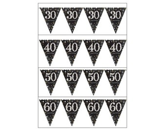 Birthday Bunting Banner, Age 30, 40, 50, 60, 70, 80, 90 or 100, black silver and gold, party decorations, birthday age banner, UK seller