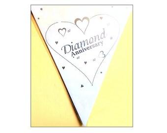 60th Anniversary banner, paper flag bunting, Diamond Wedding Bunting, 60th anniversary, party decoration, anniversary banner, UK seller