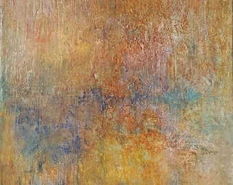Original mixed media abstract expressionist landscape painting. Titled 'First light' atmospheric warm landscape 76x61 cm