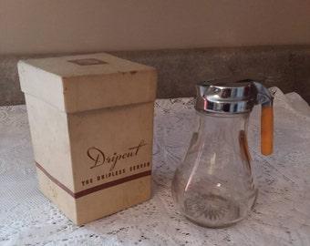 Vintage Dripcut Dripless Server Etched Glass Metal Lid Bakelite Handle Original Box
