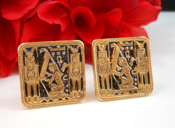 "ACCESSOCRAFT NY Egyptian Revival Gold Tone Clip Earrings Enamel Inlay 1""Square"