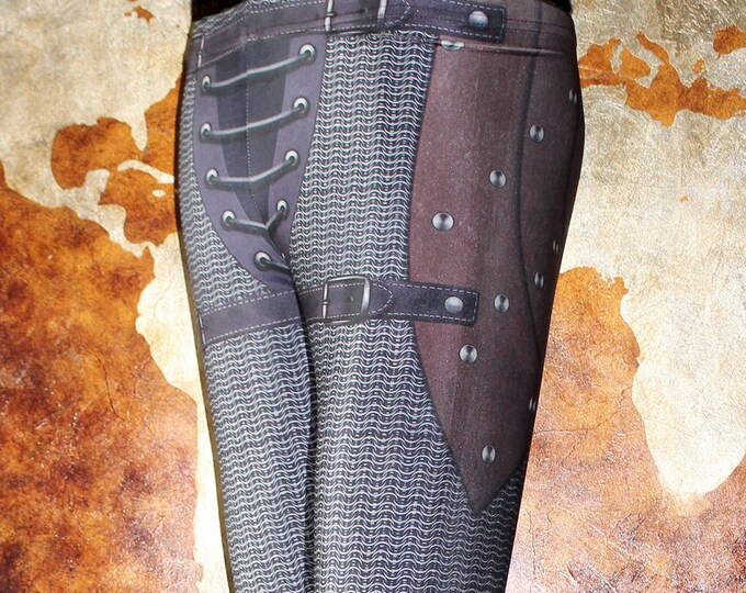 TAFI Chain Armor Leggings - Chainmail & Leather Fantasy Armour Costume Yoga Pants 2018 Galaxy CosPlay Print